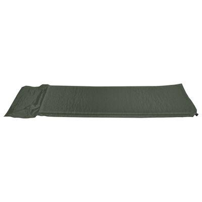 vidaXL Zračni madrac na napuhavanje s jastukom 66 x 200 cm tamnozeleni