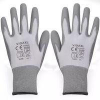 vidaXL Radne rukavice PU 24 Para bijela-siva Veličina 9 / L