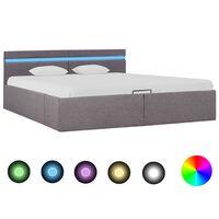 vidaXL Hidraulični okvir za krevet od tkanine LED smeđe-sivi 180x200 cm