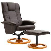 vidaXL Okretna TV fotelja s osloncem za noge od umjetne kože smeđa
