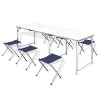 Komplet 6 sklopivih stolica za kampiranje prilagodive visine