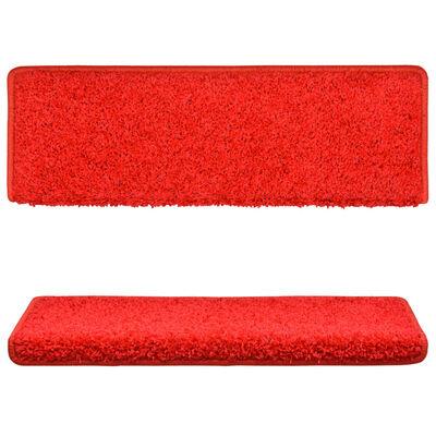 vidaXL Tepisi za stepenice 15 kom 65 x 25 cm crveni