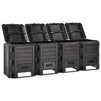 vidaXL Vrtni komposter crni 1600 L