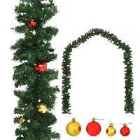 vidaXL Božićna girlanda ukrašena kuglicama 10 m