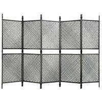 vidaXL Sobna pregrada od poliratana s 5 panela antracit 300 x 200 cm
