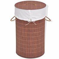 vidaXL Košara za rublje od bambusa okrugla smeđa