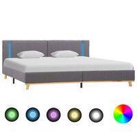 vidaXL Okvir za krevet od tkanine LED svjetlosivi 180 x 200 cm