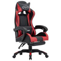 vidaXL Igraća stolica od umjetne kože s osloncem za noge bordo-crna