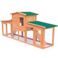 vidaXL Veliki vanjski kavez za zečeve i male životinje s krovom drveni