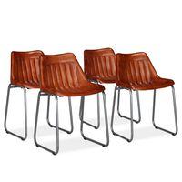 vidaXL Blagovaonske stolice od prave kože 4 kom smeđe