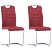 vidaXL Konzolne blagovaonske stolice od umjetne kože 2 kom crvene