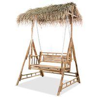 vidaXL Ljuljačka za 2 osobe od bambusa s palminim lišćem 202 cm