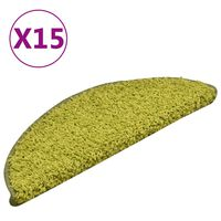 vidaXL Tepisi za stepenice 15 kom zeleni 56 x 17 x 3 cm