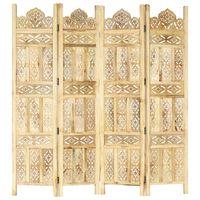 vidaXL Sobna pregrada s 4 panela 160 x 165 cm od masivnog drva manga