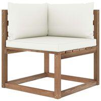 vidaXL Vrtna kutna sofa od paleta s krem jastucima