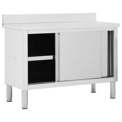 vidaXL Radni stol s kliznim vratima 120x50x95 cm od nehrđajućeg čelika