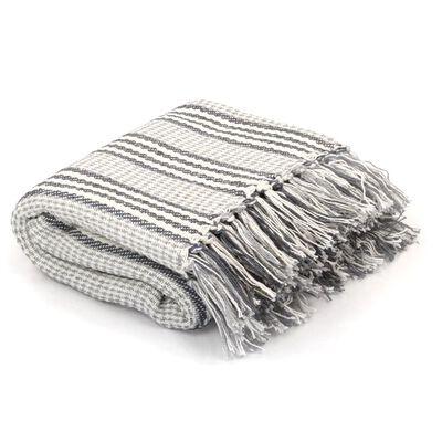 vidaXL Pamučni pokrivač na pruge 125x150 cm sivo bijeli