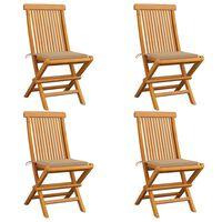 vidaXL Vrtne stolice s bež jastucima 4 kom od masivne tikovine