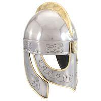 vidaXL Antikna replika kacige Beowulf za LARP srebrna čelična