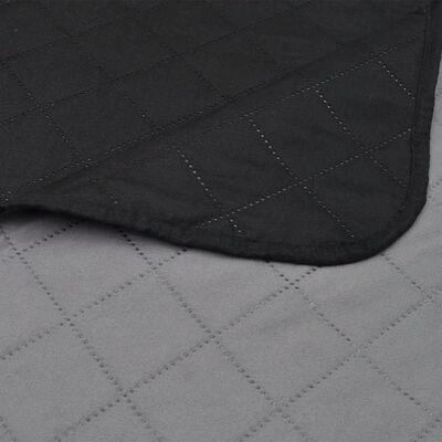 Dvostrani prošiveni Prekrivač Crni/Sivi 170 x 210 cm