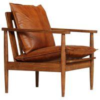vidaXL Fotelja od prave kože i bagremovog drva smeđa