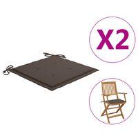 vidaXL Jastuci za vrtne stolice 2 kom smeđe-sivi 40x40x4 cm od tkanine