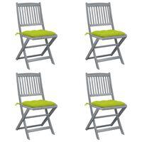 vidaXL Sklopive vrtne stolice s jastucima 4 kom masivno bagremovo drvo