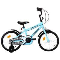 vidaXL Dječji bicikl 16 inča crno-plavi