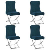 vidaXL Blagovaonske stolice 4 kom plave 53 x 52 x 98 cm baršun i čelik