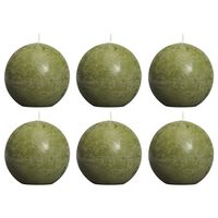 Bolsius rustične okrugle svijeće 6 kom 80 mm maslinaste