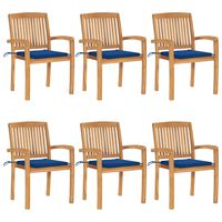 vidaXL Složive vrtne stolice s jastucima 6 kom od masivne tikovine