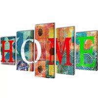 Zidne Slike na Platnu s Višebojnim Printom HOME 100 x 50 cm
