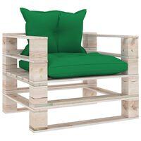 vidaXL Vrtna sofa od paleta od borovine sa zelenim jastucima