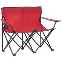 vidaXL Sklopiva stolica za kampiranje za 2 osobe čelik/tkanina crvena