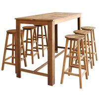 vidaXL 7-dijelni set barskih stolaca i stola od masivnog bagremovog drva