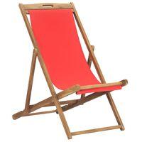 vidaXL Sklopiva stolica za plažu od masivne tikovine crvena