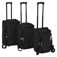 vidaXL 3-dijelni set prtljage crni