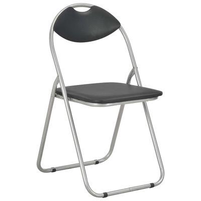 vidaXL Sklopive blagovaonske stolice od umjetne kože 2 kom crne