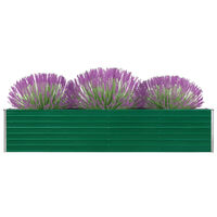 vidaXL Vrtna sadilica od pocinčanog čelika 320 x 40 x 45 cm zelena
