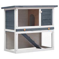 vidaXL Vanjska kućica za zečeve s 1 vratima siva drvena