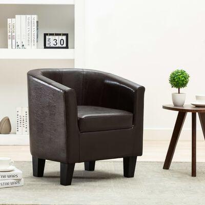 vidaXL Fotelja od umjetne kože tamnosmeđa