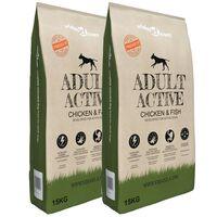 vidaXL Premium suha hrana za pse Adult Active Chicken & Fish 2 kom 30 kg