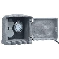 vidaXL Vrtni blok s 2 utičnice s tajmerom poliesterska smola sivi