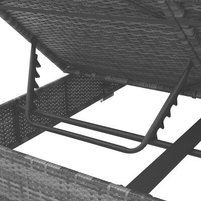 vidaXL Vrtna ležaljka od poliratana sa zastorima siva