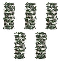 vidaXL Rešetkaste ograde od vrbe 5 kom s umjetnim lišćem 180 x 30 cm
