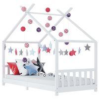 vidaXL Okvir za dječji krevet od masivne borovine bijeli 90 x 200 cm