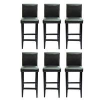 vidaXL Barske stolice od umjetne kože 6 kom crne