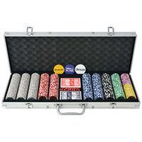 vidaXL Set za Poker s 500 Laserskih Žetona Aluminijum