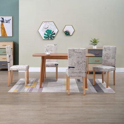 vidaXL Blagovaonske stolice od tkanine 4 kom krem
