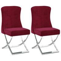 vidaXL Blagovaonske stolice 2 kom boja vina 53x52x98 cm baršun i čelik